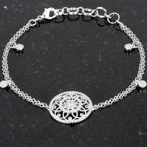 "Rhodium Plated CZ Circle Bracelet 6.5"" +1.5"" NWT"